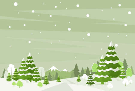 snow forest: Winter Forest Landscape Christmas Background, Pine Snow Trees Woods Vector Illustration