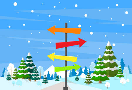 direction sign: Winter Forest Landscape Sign Direction Way Signboard Arrow Christmas Background, Pine Snow Trees Woods Vector Illustration