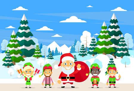 duendes de navidad: Santa Claus de Navidad Elf personaje de dibujos animados Paisaje del bosque del invierno, Ilustración pino árboles de la nieve maderas plana vectorial
