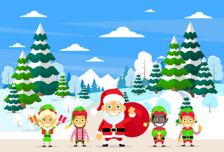 clause: Santa Clause Christmas Elf Cartoon Character Winter Forest Landscape, Pine Snow Trees Woods Flat Vector Illustration