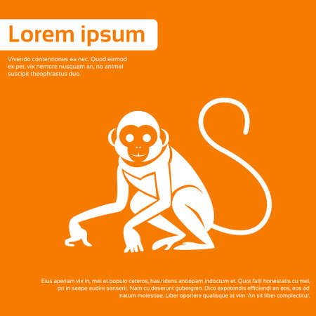monkeys: Mono Silueta Año Nuevo Símbolo Ilustración asiática Horóscopo plana vectorial Vectores