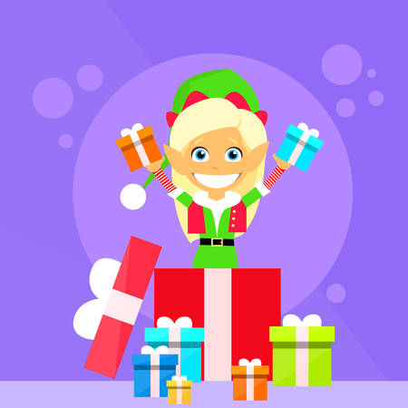 helper: Christmas Elf Female Cartoon Character Little Gril Santa Helper Flat Vector Illustration