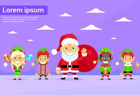 clause: Santa Clause Christmas Elf Cartoon Character Flat Vector Illustration