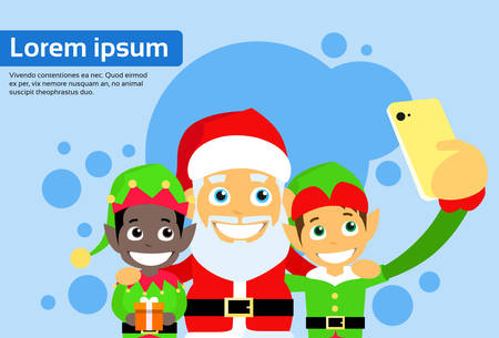 santa clause: Santa Clause Christmas Elf Cartoon Character Taking Selfie Photo On Smart Phone Flat Vector Illustration