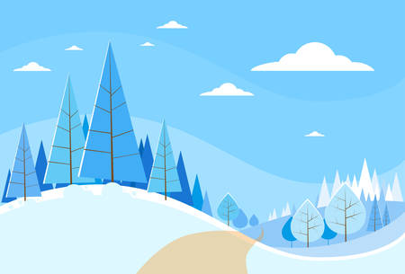 snow trees: Winter Forest Landscape Christmas Background, Pine Snow Trees Woods Vector Illustration