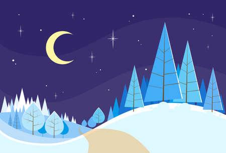 snow landscape: Winter Forest Landscape Christmas Background, Pine Snow Trees Woods Vector Illustration