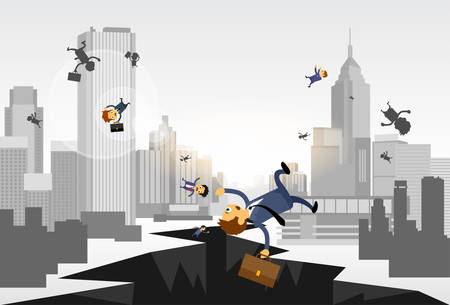 down town: Business People Fall Down Hole Street Financial Crisis City Center Concept Flat Vector Illustration Illustration