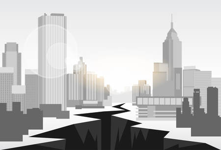Hole Street Financial Crisis City Center Concept Flat Vector Illustration Illustration