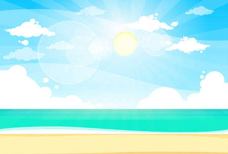 sand beach: Sea Shore Sand Beach Summer Vacation Blue Sky Sun Vector illustration