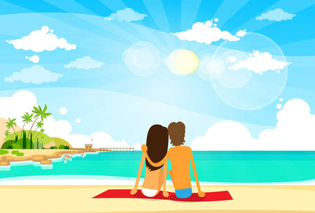 rear view girl: Couple On Summer Vacation Holiday Tropical Ocean Island Sitting Rear View Flat Vector Illustration