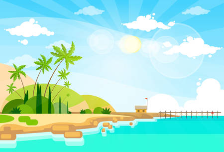 sand beach: Tropical Beach Island Palm Tree Ocean Summer Vacation Flat Vector Illustration