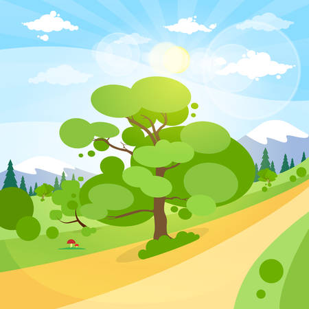 rural road: Summer Landscape Mountain Forest Road Blue Cloud Sky With Sun Green Grass And Tree Woods Flat Design Vector Illustration Illustration