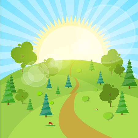 Zomer Landschap Mountain Forest Road Blauwe Wolk hemel met zon Groen Gras En Boom Woods Flat Design Vector Illustration