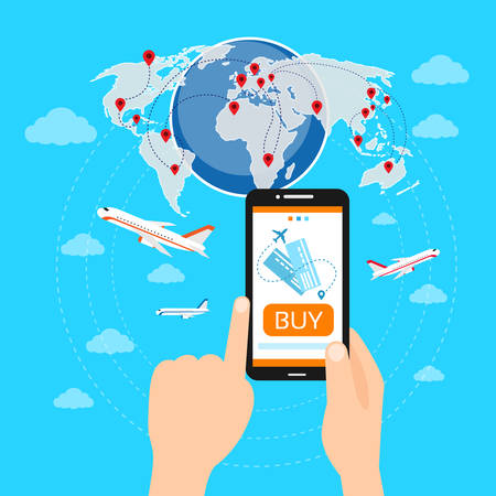 airline: Buy Ticket Online Smart Phone Application Globe World Map Travel Vacation Trip Booking Air Plane Flight Flat Vector Illustration