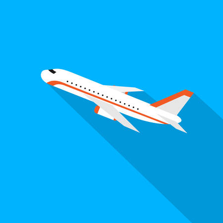 shadow: Aircraft Flat Design Style Vector Illustration Airplane Flying With Shadow