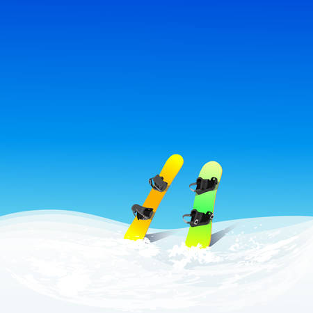 slope: Two Snowboard In Snow Mountain Slope Vector Color Illustration Winter Background