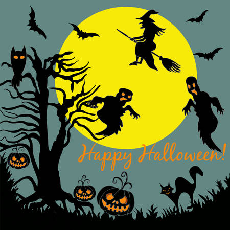 flying witch: Halloween Tree Flying Witch Ghost over Moon Night Party Card Banner Vector Illustration