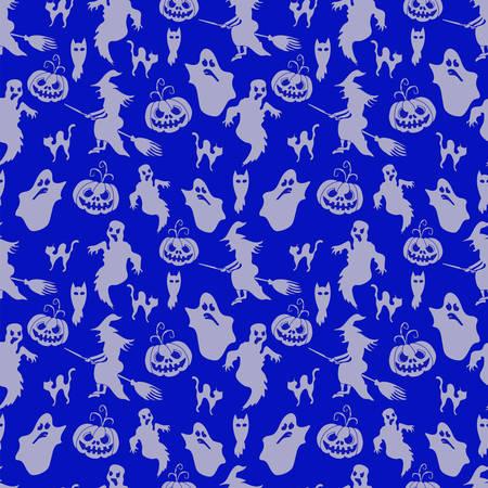 halloween pattern: Halloween Pattern Silhouette over Blue Background Vector Illustration