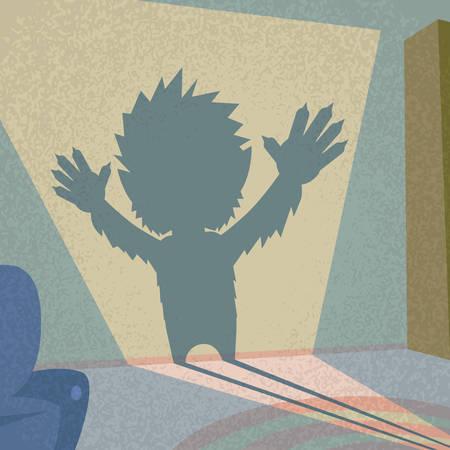 wilkołak: Wilkołak sylwetka Retro Kształt Halloween Potwór Ilustracja Wild Animal Flat Wilk wektor Ilustracja