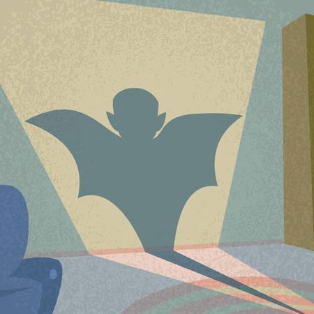 vampire cartoon: Vampire Shadow Silhouette Retro Shape Cartoon Man Character Flat Vector Illustration Illustration