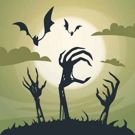 skeleton hand: Halloween Banner Cemetery Graveyard Skeleton Hand From Ground Party Invitation Card Flat Vector Illustration Illustration
