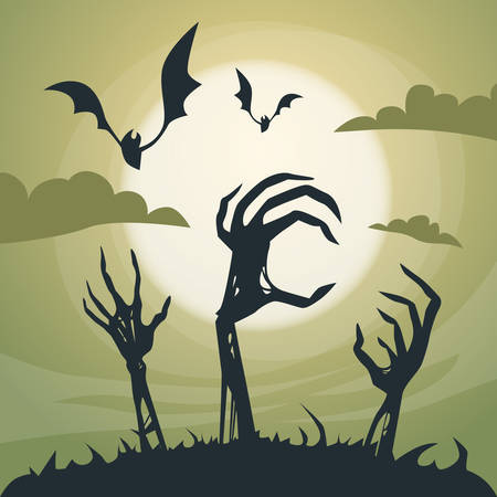 Halloween Banner Cemetery Graveyard Skeleton Hand From Ground Party Invitation Card Flat Vector Illustration Vettoriali