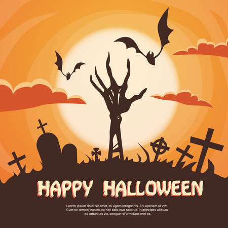 halloween witch: Halloween Banner Cemetery Graveyard Skeleton Hand From Ground Party Invitation Card Flat Vector Illustration Illustration
