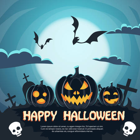 horror face: Halloween Banner Cemetery Graveyard Party Invitation Card Pumpkin Face Flat Vector Illustration