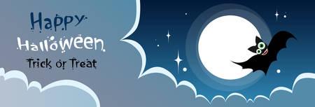 Flying Bat Vampire Halloween Banner Midnight Mood Sky Cloud Copy Space Flat Vector Illustration Illustration