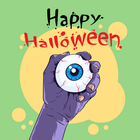 scary eyes: Zombie Hand Hold Eye Halloween Banner Flat Vector Illustration