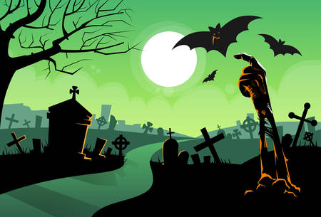 cemeteries: Zombie Dead Skeleton Hand From Ground Vampire Bat Halloween Banner Cemetery River Graveyard Card Vector Illustration