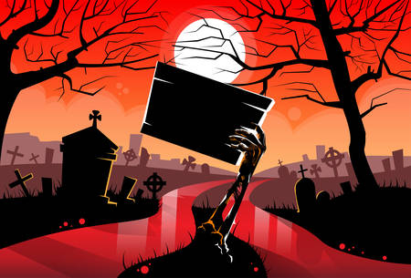 Zombie Dead Skeleton Hand Hold Sign Board, Red Blood River Halloween Dead Arms From Ground Cemetery Vector Illustration Vettoriali