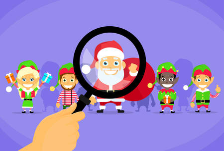 elf cartoon: Santa Clause Christmas Elf Magnifying Glass Concept Cartoon Character Flat Vector Illustration Illustration