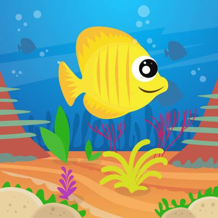 deep water: Yellow Cartoon Colorful Fish Under Deep Water Marine Ocean Flat Vector Illustration