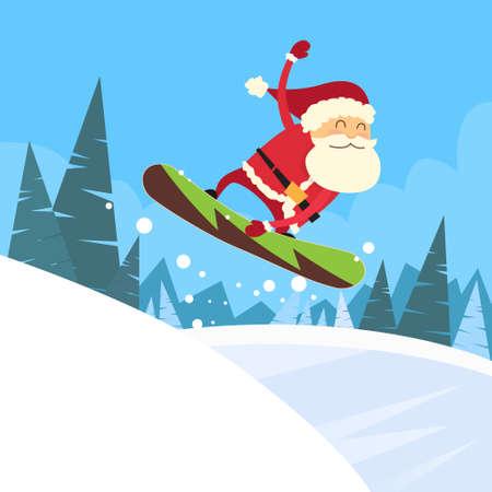 Kerstman Snowboarder Sliding onderaan Heuvel, Merry Christmas Banner Snowboarden Sneeuw Bergen Hellingen Gelukkig Nieuwjaar kaart Flat Vector Illustration