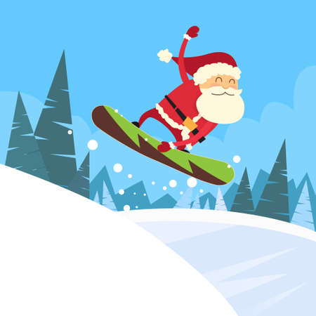 snow mountains: Santa Clause Snowboarder Sliding Down Hill, Merry Christmas Banner Snowboarding Snow Mountains Slopes Happy New Year Card Flat Vector Illustration