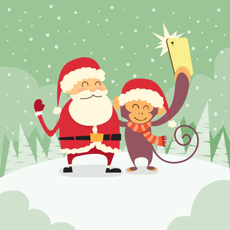 clause: Santa Clause Christmas Monkey Cartoon Character Taking Selfie Photo On Smart Phone Flat Vector Illustration Illustration