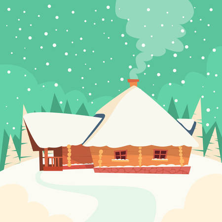 cartoon christmas eve: Winter House Snow Forest Flat Vector Illustration Illustration