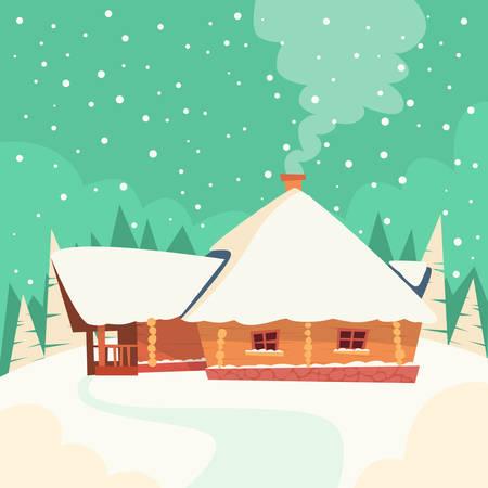 christmas snow: Winter House Snow Forest Flat Vector Illustration Illustration