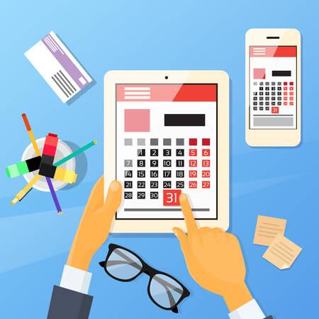 Calendrier main Pen Tablet Computer appareil numérique Dernier Jour Mois Date limite plat Illustration Vecteur