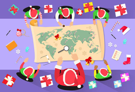 elf cartoon: Santa Clause Christmas Elf Cartoon Character Sitting Desk World Map Concept Flat Vector Illustration