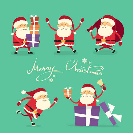 claus: Santa Claus Cartoon Character Set Gift Box Christmas Holiday Collection Flat Vector Illustration