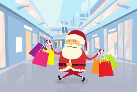 쇼핑몰 센터에서 가방과 함께 산책하는 산타 클로스 행복 쇼핑 크리스마스 휴일 평면 벡터 일러스트 레이션