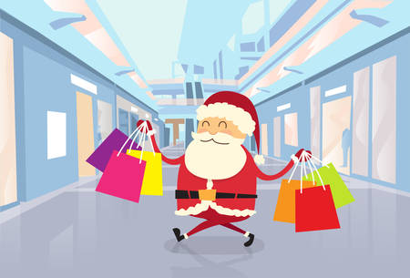 cartoon christmas eve: Santa Claus Happy Shopping Walking with Bags in Shop Mall Center Christmas Holiday Flat Vector Illustration