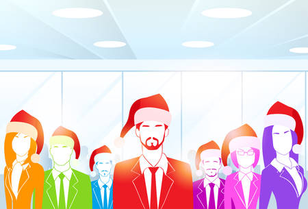 office party: Business People Group at Office Colorful Silhouettes New Year Christmas Hat Corporate Party Holiday Team Flat Vector Illustration