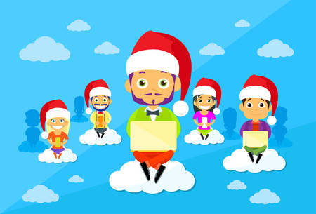 communication cartoon: Cartoon Man and Woman New Year Christmas Santa Hat People Group Sitting on Clouds Use Digital Devices Computers, Tablets Smart Phones Internet Communication Connection Concept Flat Vector Illustration