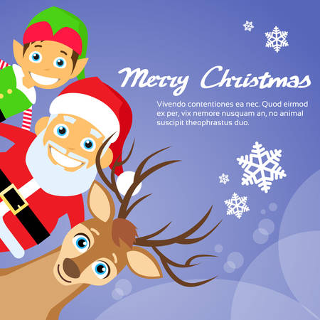clause: Merry Christmas Santa Clause Reindeer Elf Character Poster Greeting Card Flat Vector Illustration Illustration