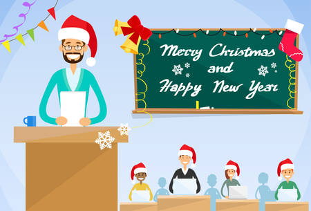 college class: University Professor Lecture  New Year Christmas Holiday Hat Teacher College Class, Group of Students People Flat Vector Illustration