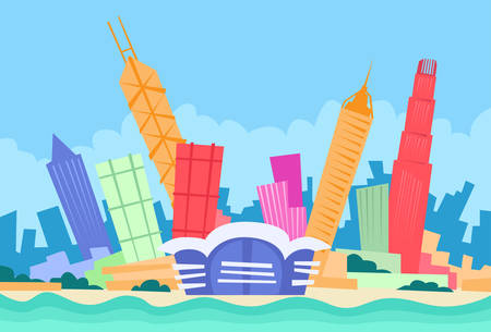 hong kong skyline: Hong Kong Skyline City Skyscraper Silhouette Flat Colorful Vector Illustration