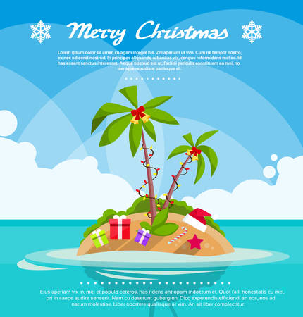 santa hat: New Year Christmas Vacation Holiday Tropical Ocean Island With Palm Tree Flat Vector Illustration